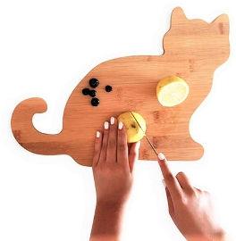 NIK NAK קרש הגשה / חיתוך 100% במבוק עיצוב חתול