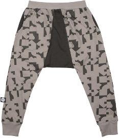 MAYAYA מכנסי באגי משולש יוניסקס אפור עם הדפס פאזל 12-18 חודשים
