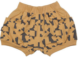 MAYAYA מכנסי בלון קצרים יוניסקס חרדל עם הדפס פאזל 18-24 חודשים