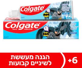 קולגייט משחת שיניים ילדים באטמן לגילאי 6+ לשיניים חזקות בטעם פירות