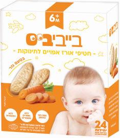 בייבי ביס חטיף אורז אפוי לתינוקות בטעם גזר