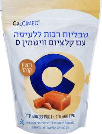 CALCIMED טבליות רכות ללעיסה עם קלציום וויטמין D בטעם קרמל