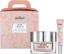 Soft Touch NEVER GROW UP סט קרם יום לעור רגיל עד יבש + קרם עיניים רב עוצמה