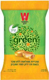 ויסוצקי סוכריות ממלואות ללא סוכר בטעם תה ירוק תפוז וסמבוק