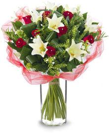 פרחי עירית אדום לבן רומנטי