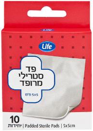 """Life פד סטרילי מרופד 5*5 ס""""מ"""
