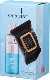 CARELINE מארז מסיר איפור דו פאזי + מגבוני פחם