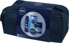 NIVEA תיק טיפוח לגבר המכיל: אפטר שייב לאחר גילוח + ג'ל רחצה לגבר + קרם רב שימושי לגבר + דאודרנט ספריי לגבר
