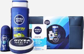 NIVEA תיק טיפוח לגבר המכיל: ג'ל רחצה אנרג'י + אפטר שייב לחות לאחר גילוח + קרם לחות רב שימושי + דאודורנט רול און דריי פרש