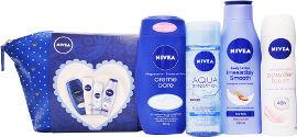 NIVEA תיק טיפוח לאשה המכיל: קרם רחצה מטפח קייר + תחליב גוף סופט מילק + דאודורנט ספריי פאודר טאץ' + ג'ל ניקוי ממריץ לפנים