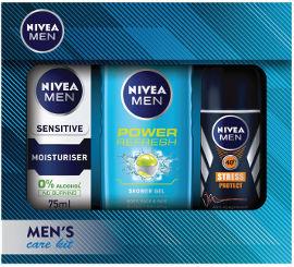 NIVEA מארז לגבר המכיל: ג'ל רחצה פאוור ריפרש + קרם לחות לעור רגיש + דאודורנט רול און סטרס פרוטקט