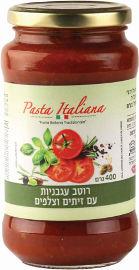 PASTA ITALIANA רוטב עגבניות עם זיתים וצלפים