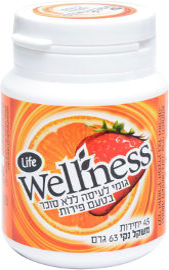 Life Wellness מסטיק ללא סוכר בתוספת ויטמין C בטעם פירות