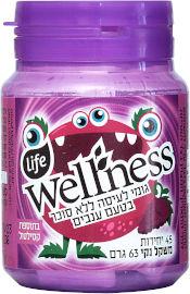Life Wellness מסטיק ללא סוכר בתוספת סידן וויטמין C בטעם ענבים