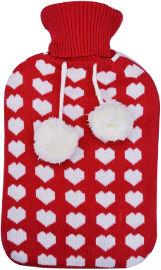 לייף בקבוק מים חמים מרופד סריג - אדום לבבות