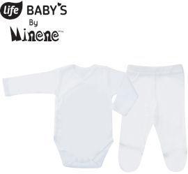 לייף BABYS סט בגד גוף ומכנסיים שרוול ארוך 100% כותנה לבן NB