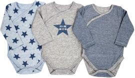 Life BABYS בגד גוף פסים כוכבים אפור 0-3