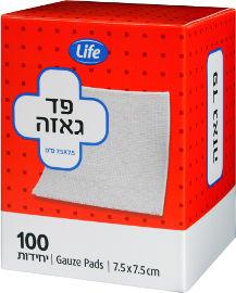 """Life פד גאזה 7.5X7.5 ס""""מ"""