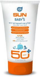 Life SUN BABYS תחליב הגנה לתינוקות לעור רגיש +SPF50 עמיד במים