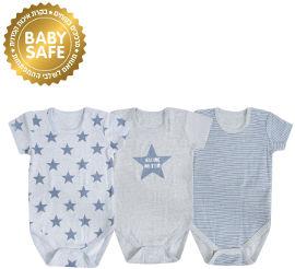 Life BABYS בגד גוף שרוול קצר 100% כותנה כחול 6-12 חודשים