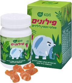Life פילונים מולטי ויטמין לילדים בטעם ענבים