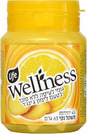 Life Wellness מסטיק ללא סוכר בטעם לימון וג'ינג'ר