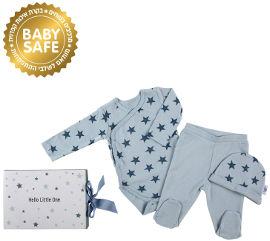 לייף לייף בייביז מארז מתנה לתינוק בגד גוף ארוך  מכנסיים וכובע 0-3 תכלת עם כוכבים מיננה
