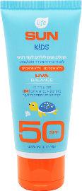 Life SUN KIDS תחליב פנים לילדים לעור רגיש SPF50 עמיד במים