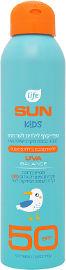 Life SUN KIDS ספריי קצף לילדים לעור רגיש SPF50 עמיד במים