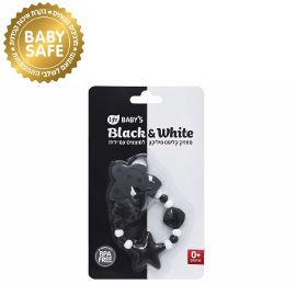 לייף לייף בייביז מחזיק מוצץ סילקון עם קליפס - מתאם למוצץ עם ידית- שחור לבן 0+