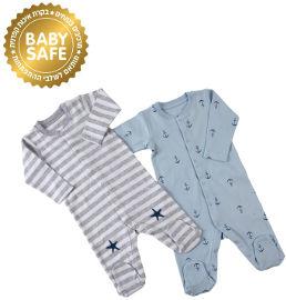 Life BABYS אוברול כחול אפור, 0-3 חודשים