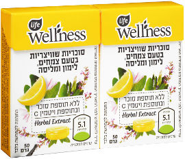 לייף לייף וולנס סוכריות ללא תוספת סוכר בטעם צמחים ולימון