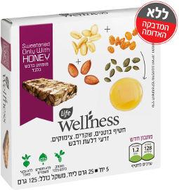 Life Wellness חטיף בוטנים , דבש, שקדים, צימוקים וגרעיני דלעת