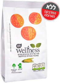 לייף לייף וולנס מיני פריכיות אורגניות תירס בתיבול עגבניות ובזיליקום