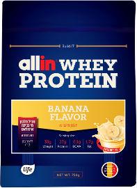 לייף ALL IN אבקת חלבון מי גבינה בטעם בננה