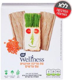 Life Wellness פת פריכה אורגנית עם עדשים