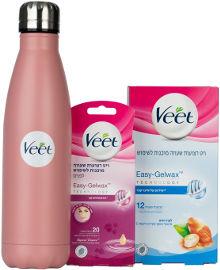 ויט מארז רצועות שעווה מוכנות לשימוש לעור רגיש, לפנים ולגוף + בקבוק שתייה מנירוסטה