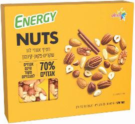 אנרג'י NUTS חטיף אגוזי לוז שקדים פקאן  קינמון