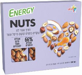 אנרג'י NUTS חטיף אגוזי לוז שקדים בוטנים קוקוס מייפל טהור
