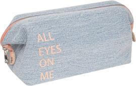 לייף תיק איפור ג'ינס עם סגירה קשיחה