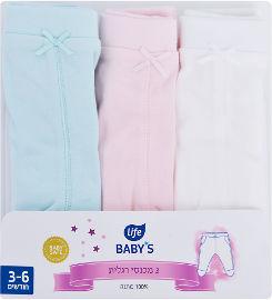 לייף לייף בייביז מכנסיים תינוק סט בצבע ורוד-טורקיז 3-6 חורף מיננה