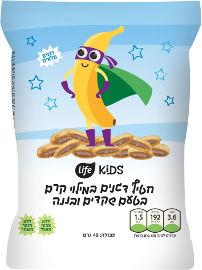 לייף לייף קידס חטיף ממולא בקרם שקדים ובטעםבננה
