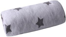 MINENE סדין ג'רסי למיטת תינוק אפור+כוכבים אפורים