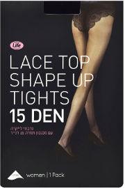 לייף גרבוני לייקרה עם מכנסון תחרה 15 דנייר שחור