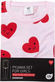 לייף Mommy & Me סט פיג'מה ארוך לבבות בנות