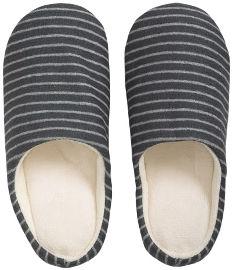 Hot Tuna נעלי בית מפנקות לחורף - אפור פסים