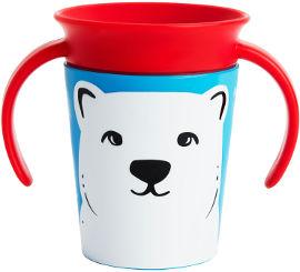"Munchkin כוס ""הפלא"" 360 - אקו חיות אדום דוב 177 מ""ל - עם ידית מנצ'קין 17423"