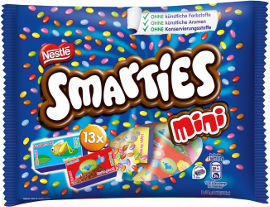 נסטלה סמארטיס סוכריות כפתורים מיני שוקולד חלב (65%) בציפוי סוכר פריך