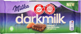 מילקה דארק שוקולד חלב עם תכולת קקאו גבוהה בתוספת שקדים קצוצים