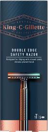King C Gillette תער גילוח דו צדדי + 5 סכינים לעיצוב ופיסול הזקן